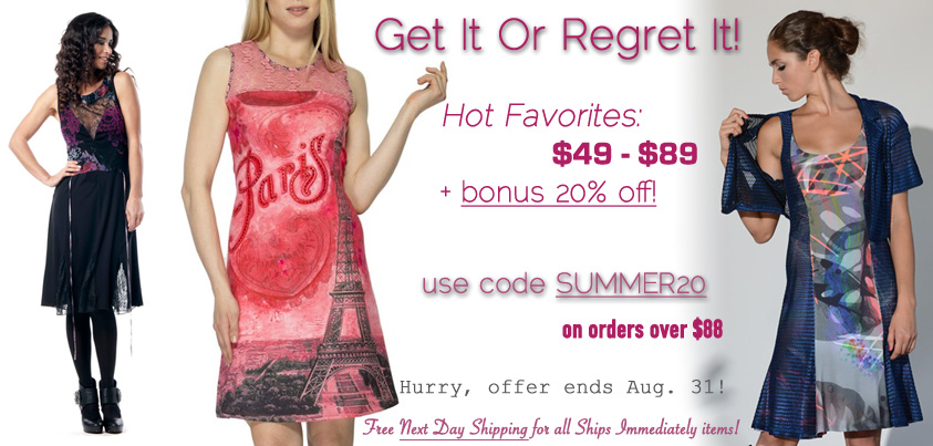 Get It Or Regret It: Hot Favorites $49 - $89 + bonus 20% off