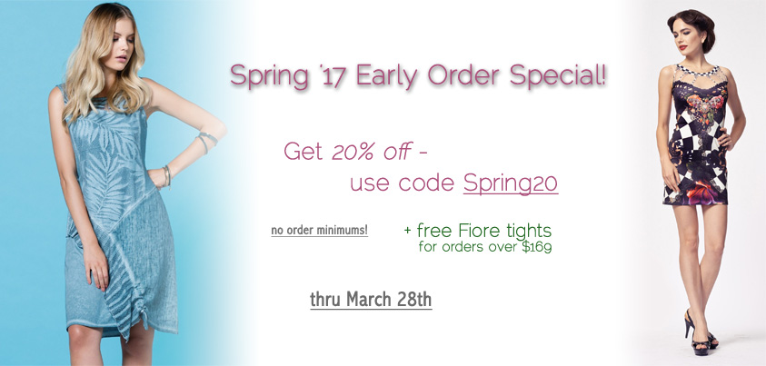 Spring 2017 early order special: 20% off