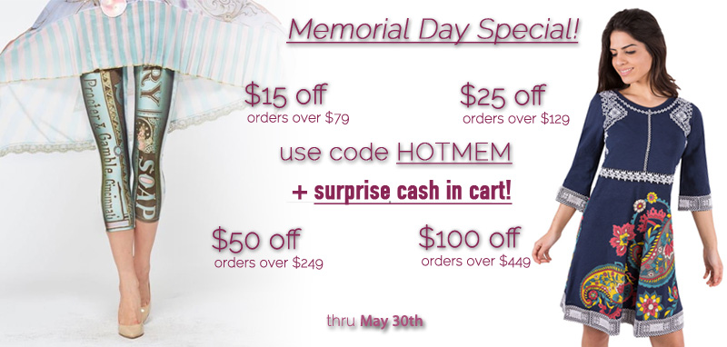 Memorial Day Special - Get $15 off orders over $79, $25 off orders over $129, $50 off orders over $249, $100 off orders over $449