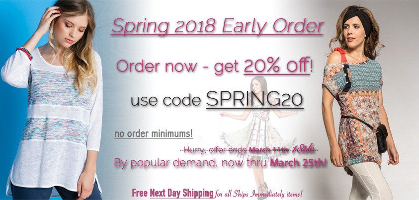 Spring 2018: Order Early and get 20% off