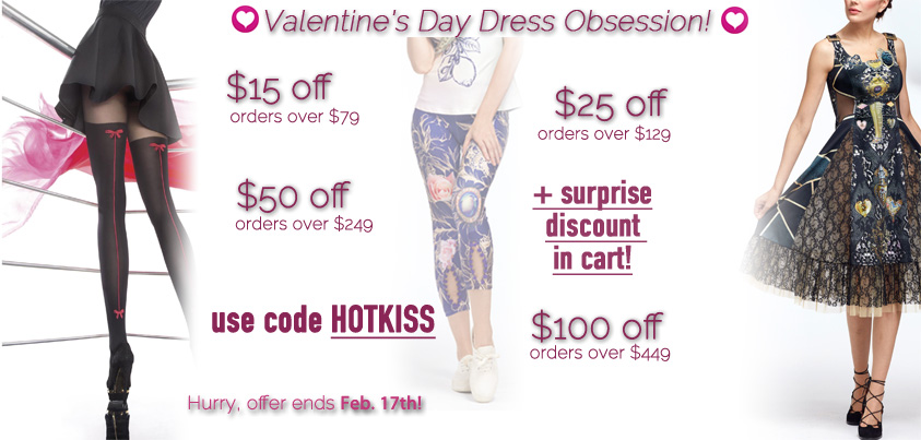 Valentine's Day Dress Obsession: $15 off orders over $79, $25 off orders over $129, $50 off orders over $249, $100 off orders over $449