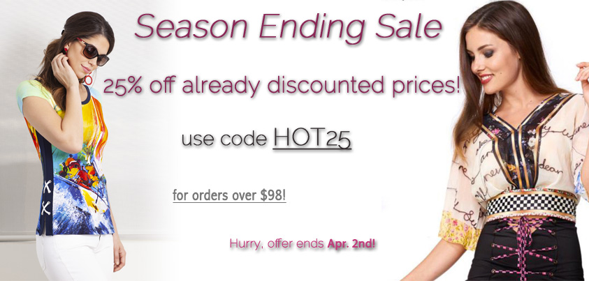 Season Ending Sale: get 25% off already discounted prices