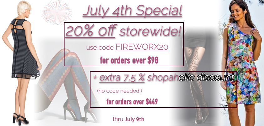 July 4th Special: 20% off storewide, extra 7.5% shopaholic discount