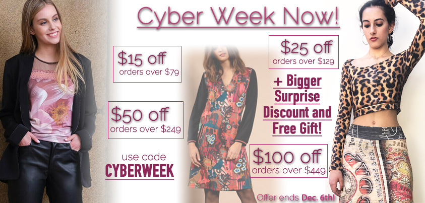 Cyber Week Now: Get $15 off orders over $79, $25 off orders over $129, $50 off orders over $249, $100 orders over $449, Bigger Surprise Discount and Free Gift