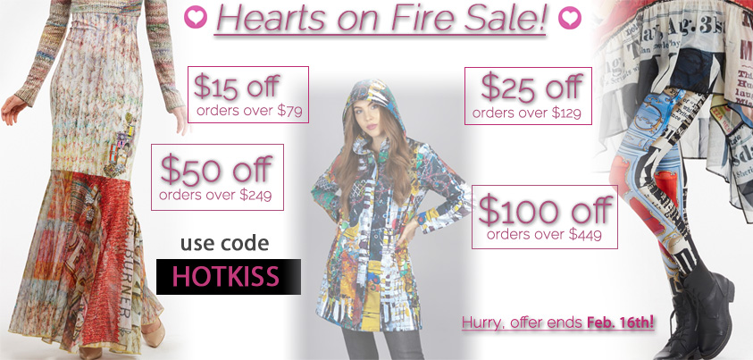 Hearts on Fire Sale: $15 off orders over $79, $25 off orders over $129, $50 off orders over $249, $100 off orders over $449