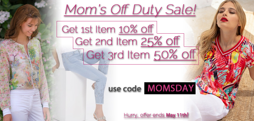 Mom's Off Duty Sale: Get First Item 10% off, Get Second Item 25% Off, Get Third Item 50% Off