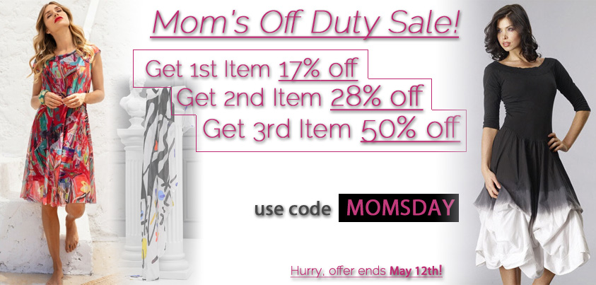 Mom's Off Duty Sale: Get First Item 17% off, Get Second Item 28% Off, Get Third Item 50% Off